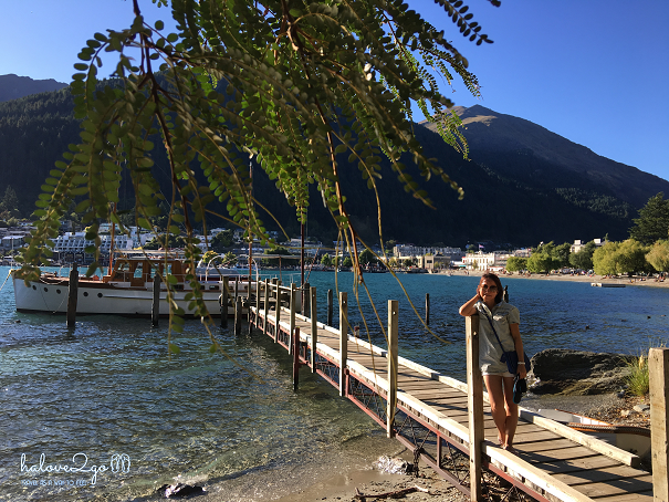 Walking along Lake Wakatipu